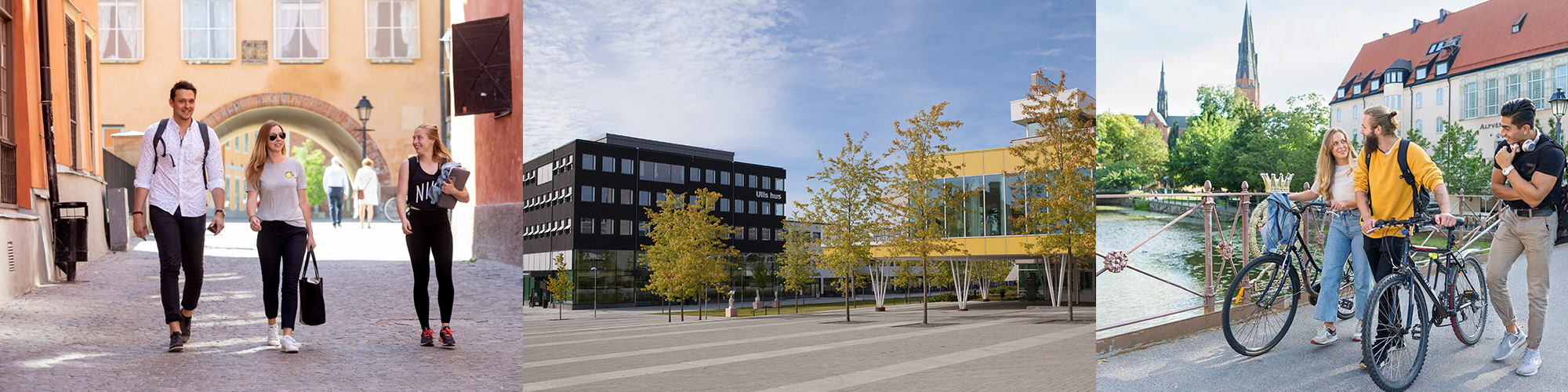 Three pictures. Some people are walking on the street. A modern black building and another yellow building. Some people are crossing over a bridge.
